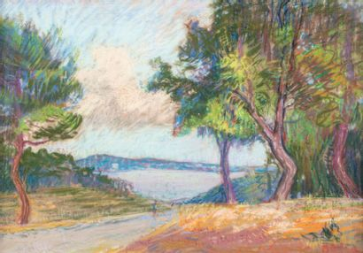 Marcel GELINET ( 1895-1984) Trees by the sea Pastel on paper 33 x 46 cm Signed lower...