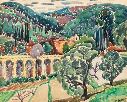 Roger GRILLON (Poitiers 1881 - Maule 1938) Aqueduct in a landscape Watercolor on...