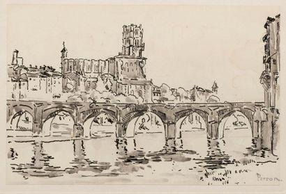 Henri PERSON (Amiens 1876- Paris 1926) Le pont d'Albi Ink and wash on paper 24,8...