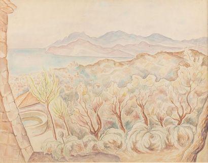Marie VOROBIEFF MAREVNA (Tcheboksary 1892-London 1984) Mediterranean landscape Watercolour...