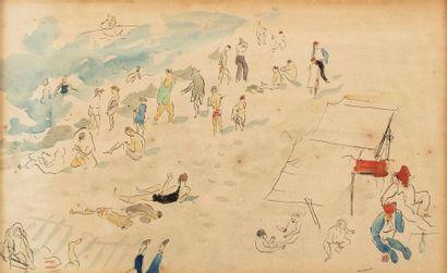 Jean LAUNOIS 1898-1942 Scène de plage en...
