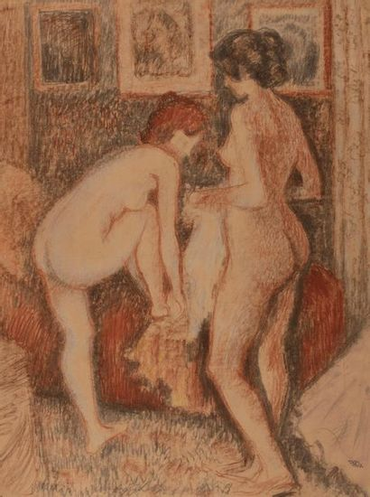 Georges LEMMEN (Schaerbeck 1865-Uccle 1916) Two women at their toilet Sanguine and...