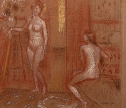 Georges LEMMEN (Schaerbeck 1865-Uccle 1916) Two nude models, 15 August 1906 Blood,...