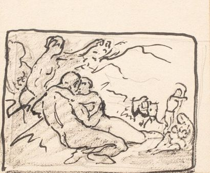 Emile BAES (1879 - 1954) Couple entwined Ink and pencil on paper 18 x 21 cm Provenance...
