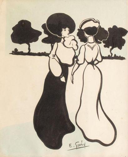 E GUERY Au bois (deux élégantes) Encre et aquarelle sur papier 29 x 23,5 cm Signé...