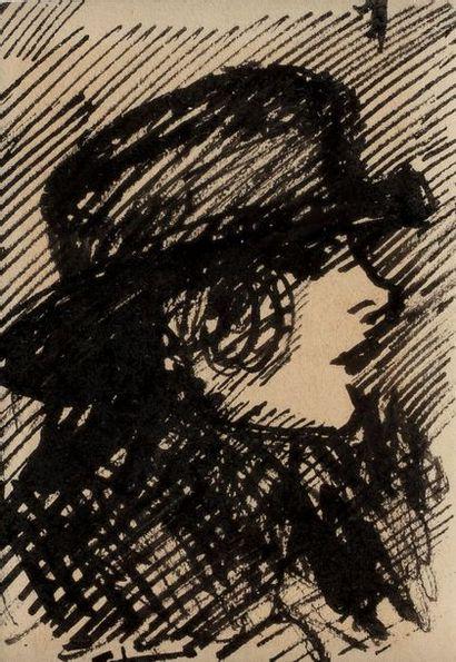 Théophile Alexandre STEINLEN (Lausanne 1859 - Paris 1923) Portrait of a woman with...