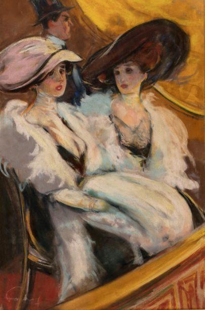 Louis FORTUNEY (1875 - 1951) Deux élégantes...