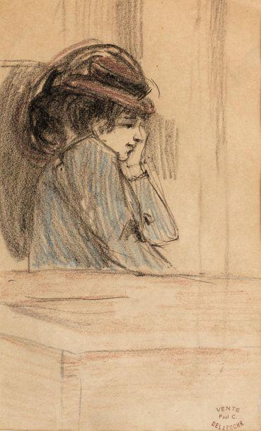 Paul Charles DELAROCHE (1883-1914) Femme accoudée Pastel, fusain et crayon sur papier...