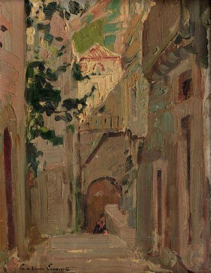 Paul Emile LECOMTE (Paris 1877 - 1950) Rue de village Oil on panel 17 x 13,3 cm...