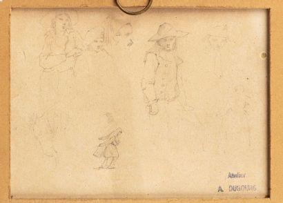 Louis Alexandre DUBOURG (Honfleur 1821-1892) Studies of figures, horse Two pencils...