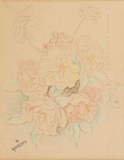Marie VOROBIEFF MAREVNA (1892-1984) Bouquet of Roses, 1946 Watercolour on pencil...