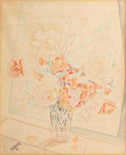 Marie VOROBIEFF MAREVNA (Tcheboksary 1892-London 1984) Vase of roses, 1946 Watercolour...