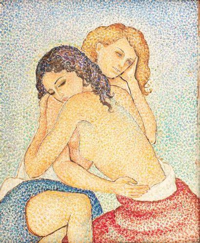 Marie VOROBIEFF MAREVNA (1892-1984) Deux amies enlacées, Cannes, 1943 Oil on panel...