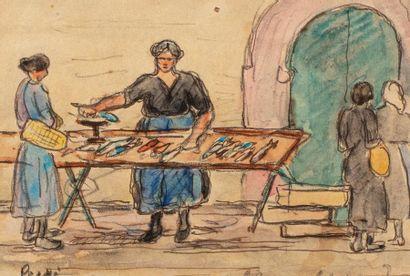 Jean Miscelsas PESKE (Golta 1870 - Le Mans 1949) Fish Market Watercolor on pencil...