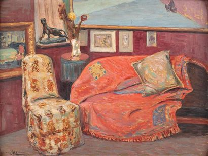 Alexandre ALTMANN (1885-1950) Interior view, Paris, 1910 Original oil on canvas...