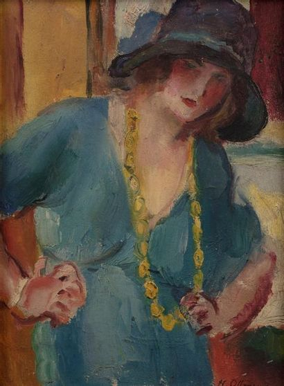 Henry OTTMANN (Ancenis 1877 - Vernon 1927) Woman with a necklace Oil on panel a...