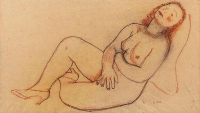 Georges KARS (Kraluppy 1882-Geneva 1945) Female nude Sanguine and black stone on...
