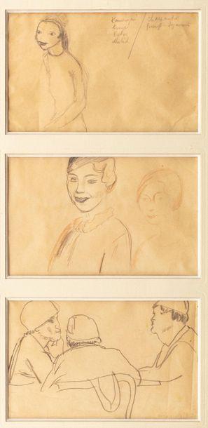Georges KARS (Kraluppy 1882-Geneva 1945) Three studies: young girl, woman's study,...