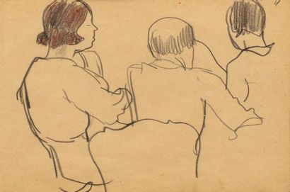 Georges KARS (Kraluppy 1882-Geneva 1945) Three figures at the table Pencil and coloured...