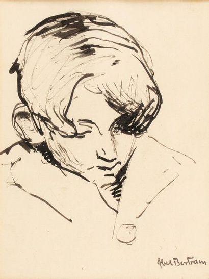 Abel BERTRAM (Saint Omer 1871-Paris 1954) Young woman Ink on paper artist's stamp...