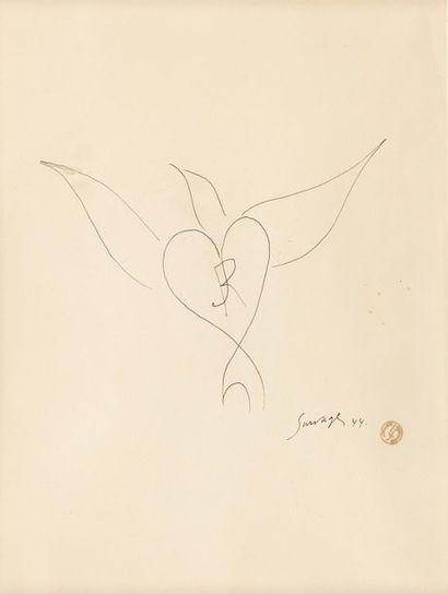 Léopold SURVAGE (1879-1968) Oiseau cœur,...