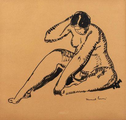 Marcel LENOIR pseudonyme de Jules Oury (Montauban 1872-1931) Nu féminin Encre sur...