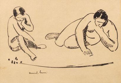 Marcel LENOIR pseudonym of Jules Oury (Montauban 1872-1931) Two female nudes Ink...