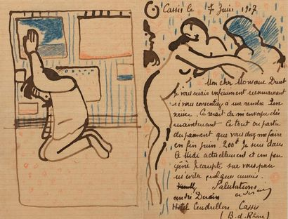 André DERAIN (Chatou 1880 - Garches 1954) Letter to Druet with two drawings: Derain...