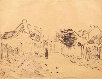 Leo GAUSSON (Lagny sur Marne 1860 - 1944) Rue de village Ink on paper 24 x 31 cm...