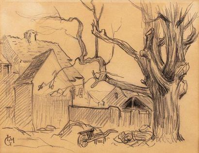 Leo GAUSSON (Lagny sur Marne 1860 - 1944) Charcoal wheelbarrow landscape on paper...
