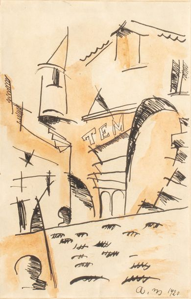 MAR (Active in the 20th century) Village, 1920 Ink and watercolor on paper 18.5...