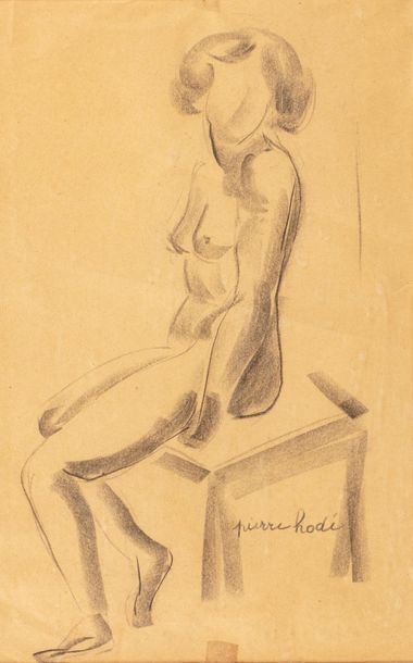 Pierre HODE (Rouen 1889 - 1942) Sitting female nude Charcoal and blurred 38 x 24...