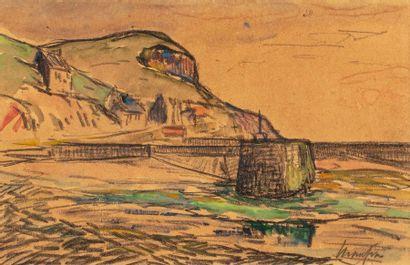 Maxime MAUFRA (Nantes 1861 - Poncé sur le Loir 1918) Falaise à Dielette Aquarelle...