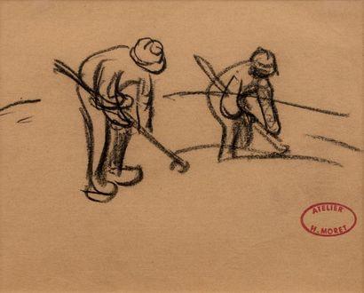 Henry MORET (Cherbourg 1856 - Paris 1913) Les paludiers Fusain on paper 14,2 x 17,6...