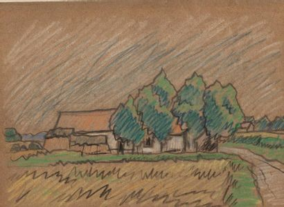 Philippe HOLEMAD (Active in the XXth century) The farmhouse Pastel and cayon on...