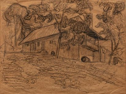Jean Hippolyte MARCHAND (1883-1940) Le cottage, 1904 Charcoal on paper 24 x 31.5...