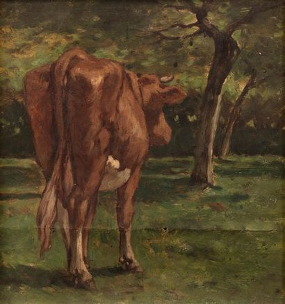 19th century FRENCH school in the taste of DUBOURG Cow Oil on paper 20 x 18,6 cm...