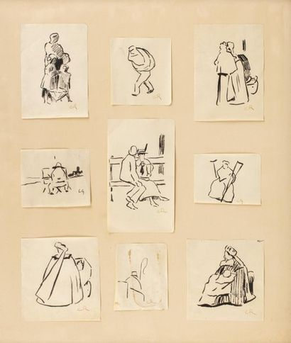 Carlos REYMOND (Paris 1884-Nice 1970) Étude de personnages au parc Set of nine inks...
