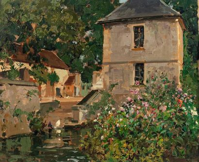 Paul Emile LECOMTE (Paris 1877 - 1950) Basse-cour, Saint Léonard Oil on panel 38...