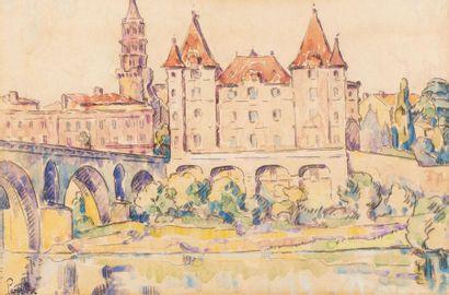 Henri PERSON (Amiens 1876- Paris 1926) Montauban Watercolor on pencil strokes on...