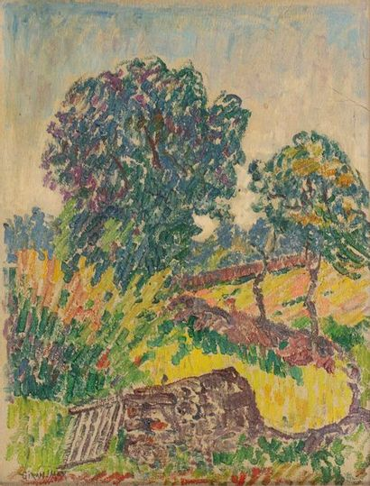 Léon GIRAN-MAX (1867-1927) Trees in a landscape. Oil on paper mounted on canvas...