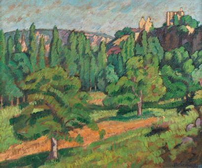 Roger GRILLON (Poitiers 1881 - Maule 1938) Paysage Huile sur toile d'origine 54...
