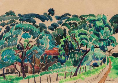 Roger GRILLON (Poitiers 1881 - Maule 1938) Landscape at the fence, Vendée, VI-1929...