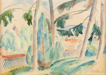 Roger GRILLON (Poitiers 1881 - Maule 1938) Paysage à la barrière, 27 juin 1931....