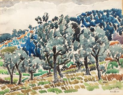 Roger GRILLON (Poitiers 1881 - Maule 1938) Trees in a hilly landscape, 1921 Watercolour...