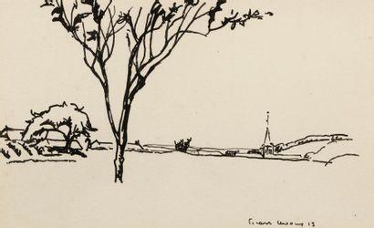 Charles PICART LE DOUX (Paris 1881 - 1959) Vue de village, 1913 Encre noire sur...