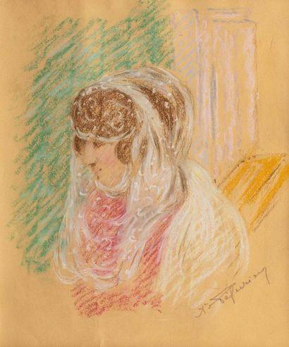 Auguste PEGURIER (1856 - 1936) Femme au voile...