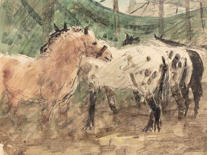 Pierre Olivier DUBAUT (1886 - 1968) Chevaux...