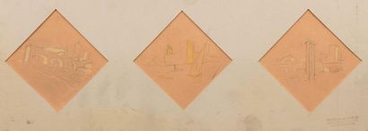 Carlos REYMOND (Paris 1884-Nice 1970) Projects of French cities Suite of three watercolours...