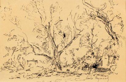 Carlos REYMOND (Paris 1884-Nice 1970) Landscape Ink on paper 22 x 34 cm at view...